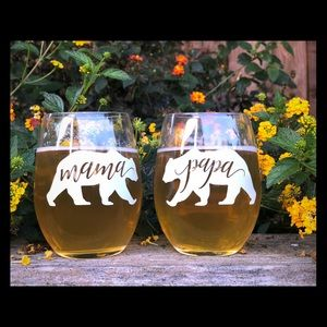 Other - Mama & Papa Bear Stemless Wine Glasses 12oz